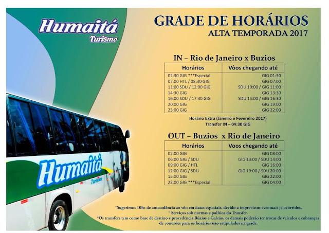 Grade de horários de ônibus Rio de Janeiro Búzios