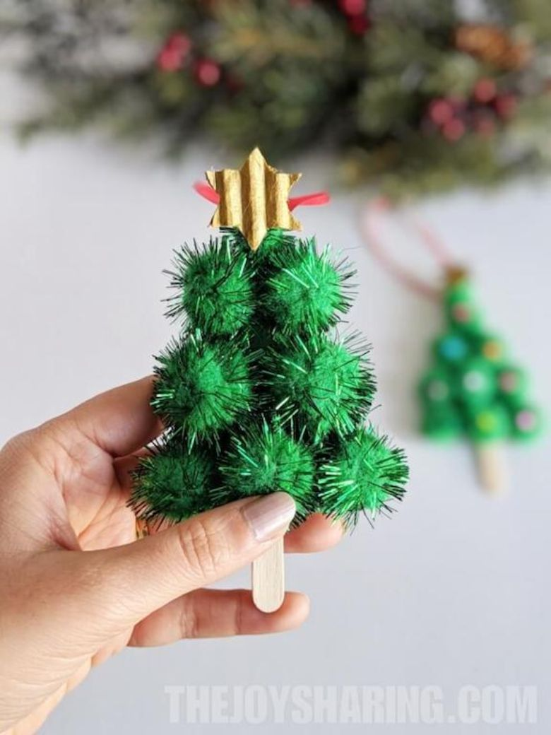 Pom pom Christmas tree craft for kids