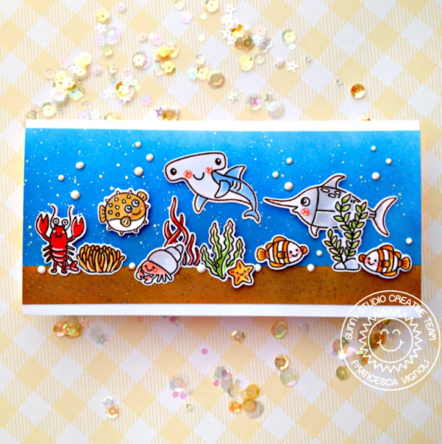 Sunny Studio Stamps: Best Fishes Ocean Themed Card by Franci Vignoli