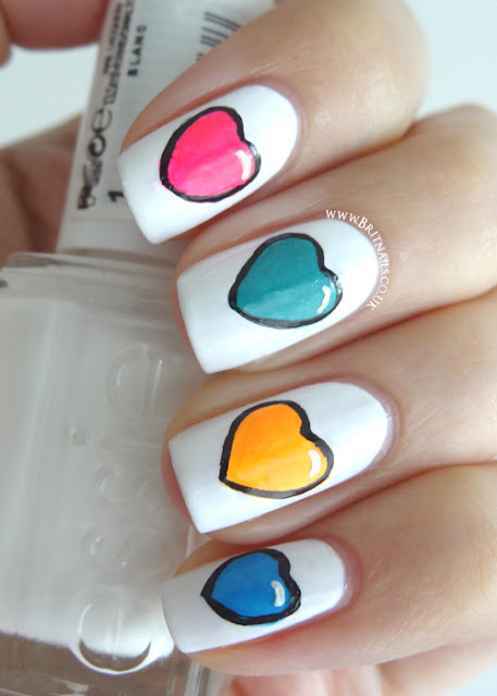 Colourful Hearts Brit Nails