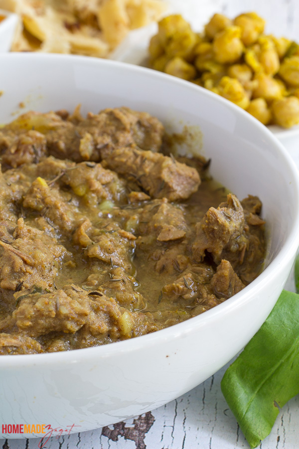 Close up of a bowl with curry beef