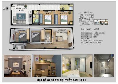 thiết kế căn hộ 60m2 chung cư mini Tôn Đức Thắng