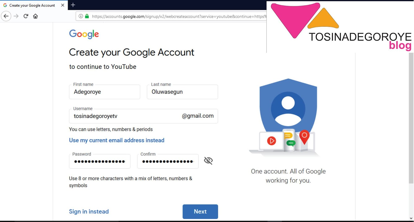 make a google account for youtube