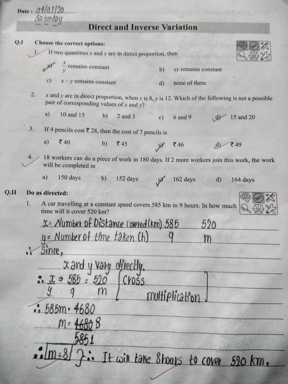 Math Ch 15 Direct And Inverse Variation Workbook Exercise