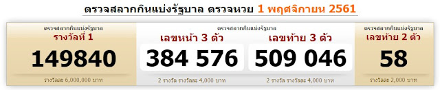 Thai Lotto Result Today For 01-11-2018