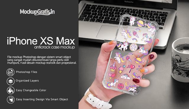 Mockup Softcase Anti Crack iPhone XS Max Gratis
