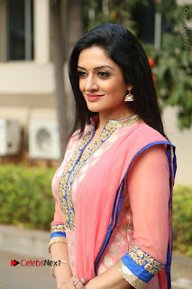 Actress Vimala Raman Stills in Beautiful Pink Salwar Kameez at (ONV) Om Namo Venkatesaya Press Meet  0142.JPG