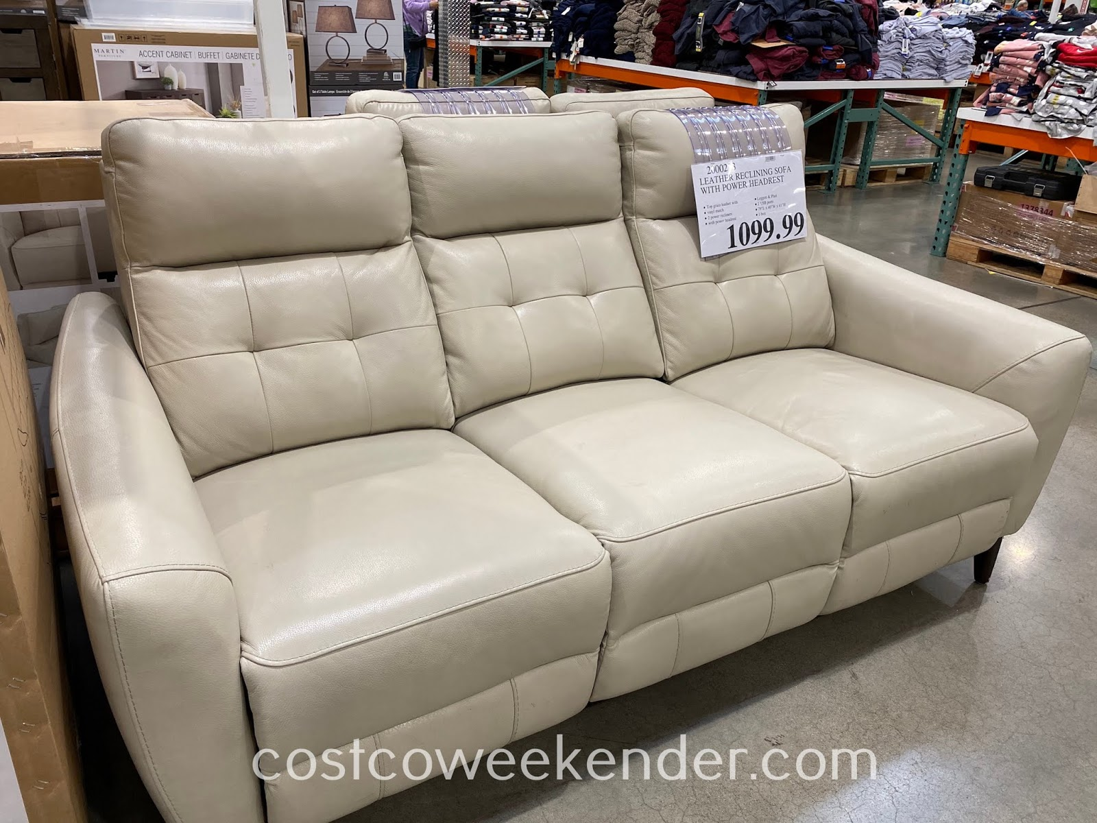 Relax at home on the Leather Power Reclining Sofa with Power Headrests