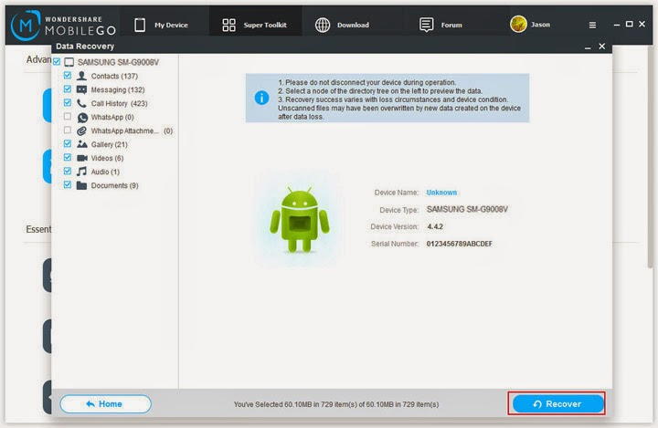 Recover Deleted Data from Samsung Mobile Phones - Download
