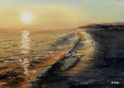 水彩画 サンタモニカの夕日