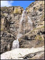Stewart Falls with Avalanche at Base of Falls