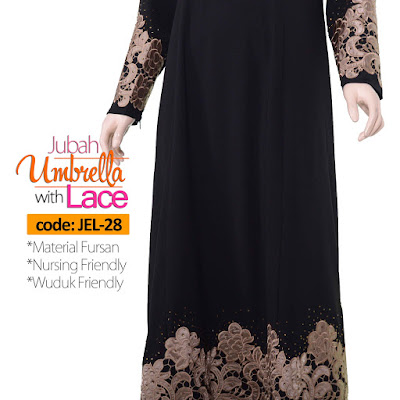 Jubah Umbrella Lace JEL-28 Black Tangan 3