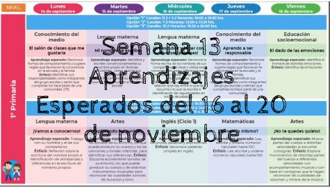Semana 13 Aprendizajes Esperados del 16 al 20 de noviembre