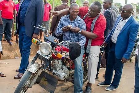 Gov Rochas Okorocha rides 'Okada' to inspect project in Owerri [PHOTO]