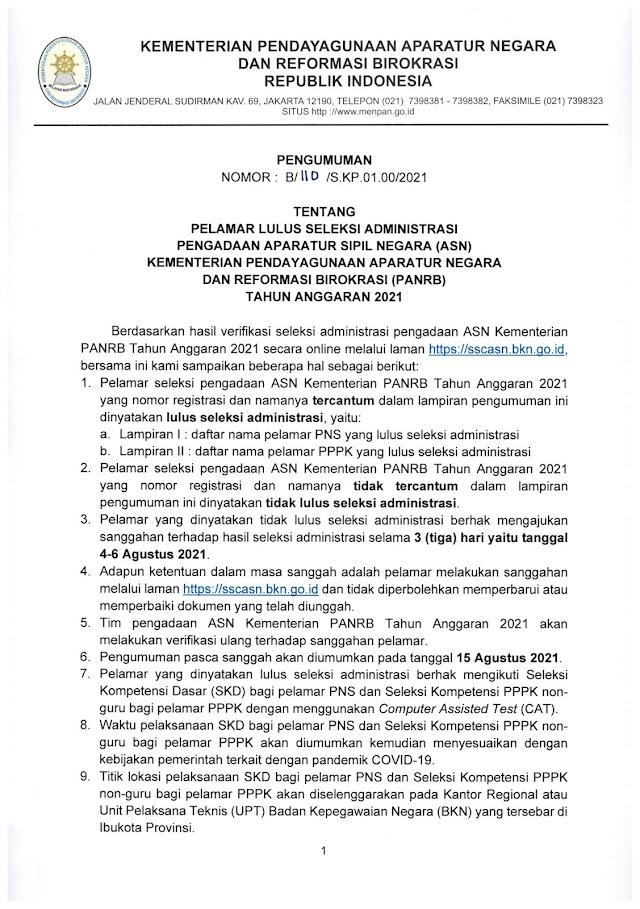 Pengumuman Tentang Pelamar Lulus Seleksi Administrasi Pengadaan Aparatur Sipil Negara (ASN) Kementerian PANRB Tahun Anggaran 2021 | 2 Agustus 2021