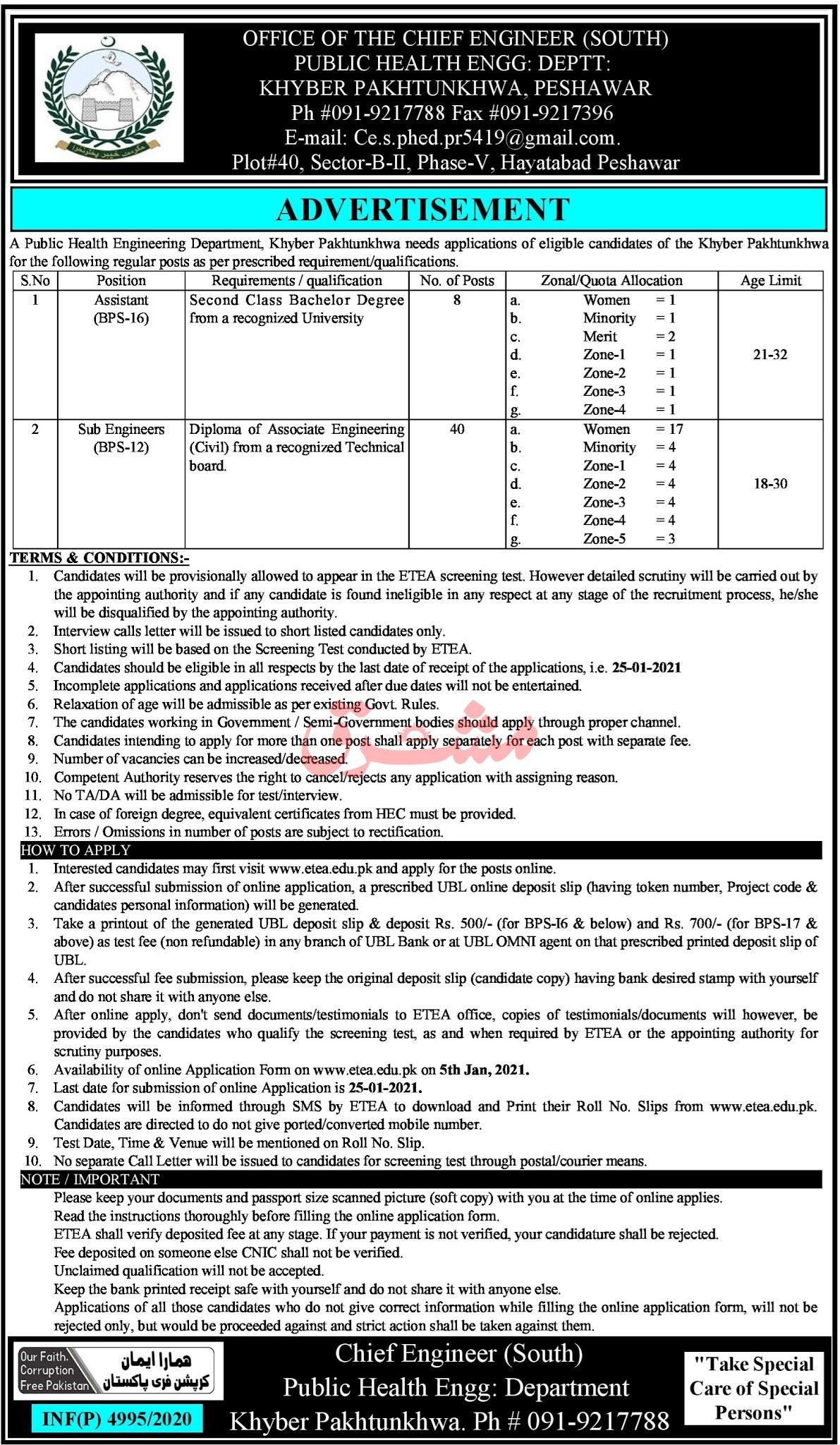 Health Department Jobs 2021 - Public Health Engineering Department Jobs 2021 - Download Job Application Form - www.etea.edu.pk
