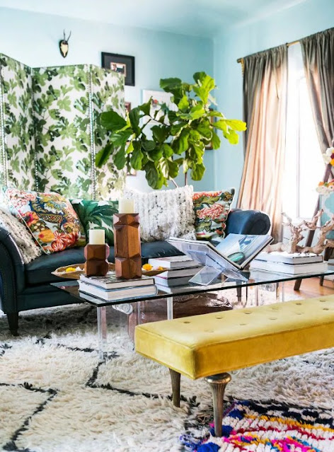 the right shade of paint to adorn a bohemian living room