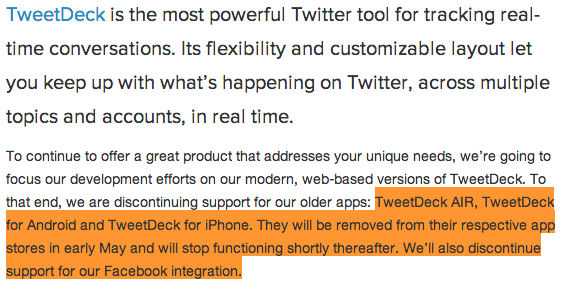 Facebook close off message form TweetDeck Blog