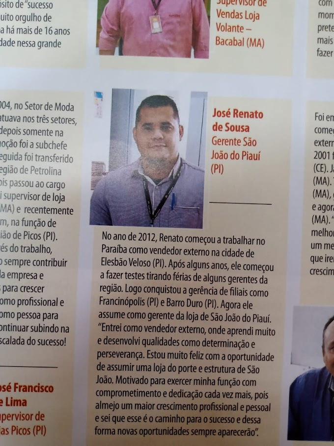 ÊXITO: Jovem gerente do Armazém Paraíba, elesbonense Renato Sousa é destaque em revista do Grupo Claudino.
