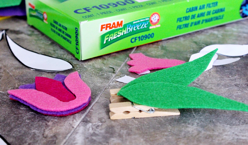 DIY Flower Car Vent Clip Air Freshener + Tips To Improve Your In Car Air Quality. #FRAMFreshBreeze #AD
