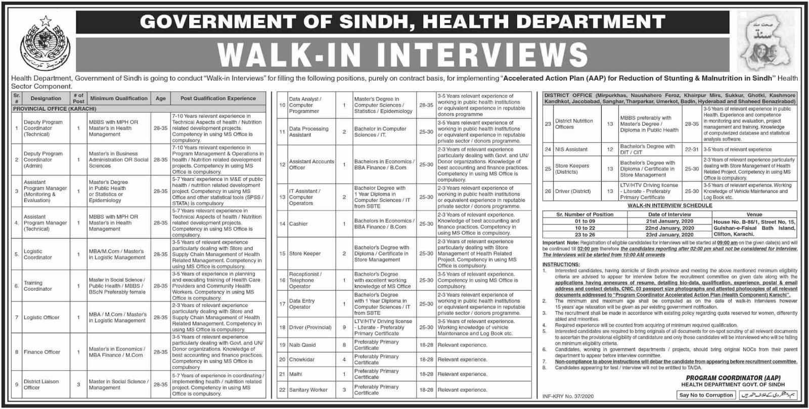 Health Department Govt of Sindh Jobs 2020 Jobs Advertisement