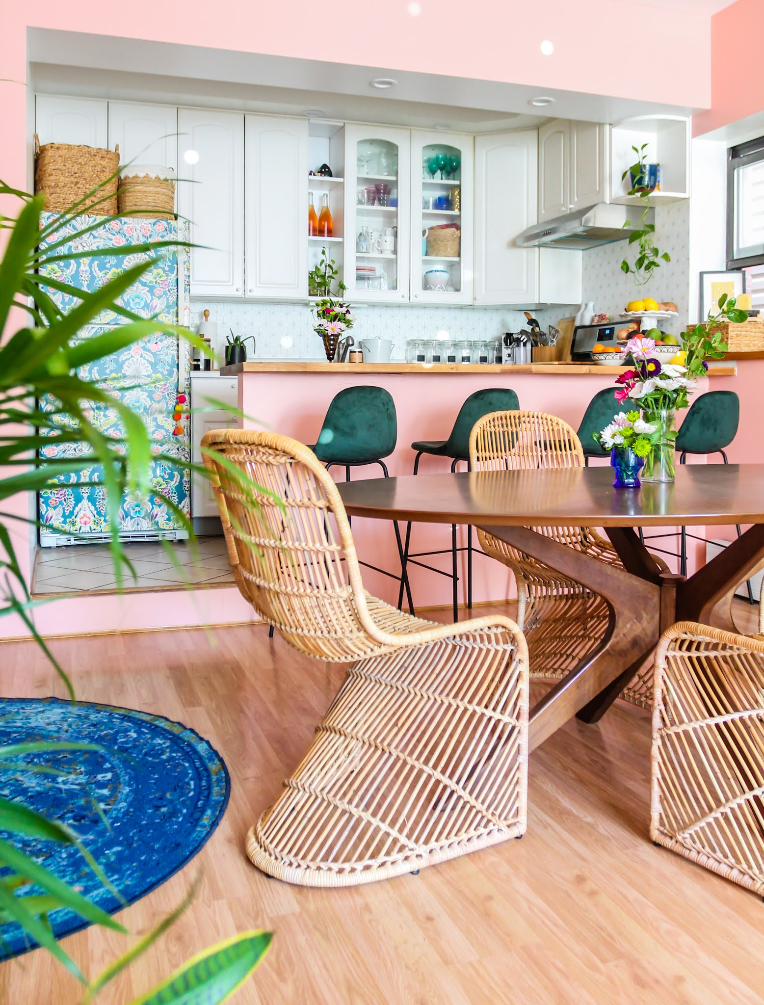 pink and green decor // green barstools // pink kitchen // diy wallpaper fridge // pink and green kitchen // colorful homes // Megan Zietz  Apartment // TfDiaries // pink and green room // pink and green Inspo // barstool inspo // velvet barstools // in mod Sigfred barstool // Green Velvet Mid Century Barstools