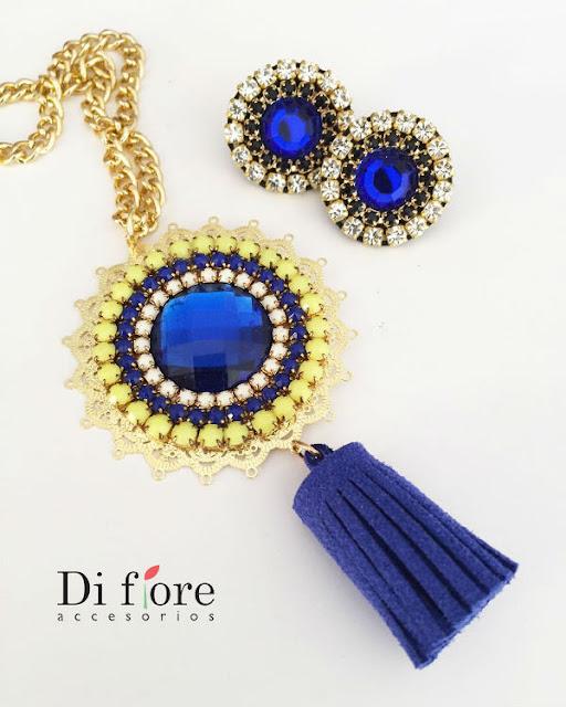 zarcillos azules di fiore accesorios