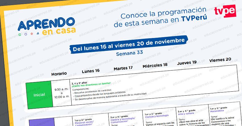 APRENDO EN CASA: Programación del Lunes 16 al Viernes 20 de Noviembre - MINEDU - TV Perú y Radio (ACTUALIZADO SEMANA 33) www.aprendoencasa.pe