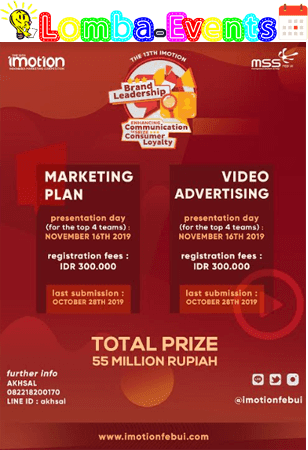 Lomba Marketing Plan Nasional IMOTION UI 2019 Mahasiswa