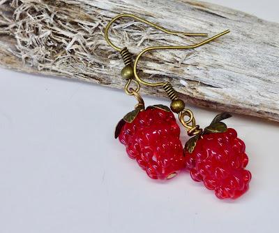 Red Raspberry Earrings by BayMoonDesign