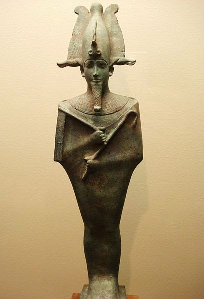 Bronze statue of Osiris, c. 664 BC-642 CE. Osiris is bearded, wearing the Atef crown with the Uraeus, and holding the crook and the flail.