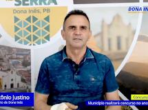 DONA INÊS/PB. Justino confirma concurso público para 2022