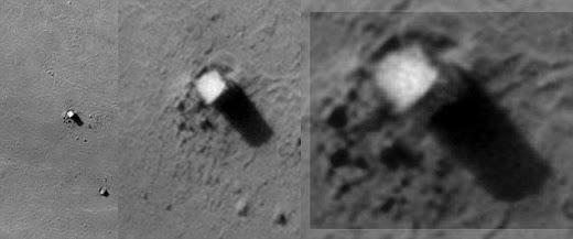 Fotografía de un Edificio en la superficie lunar.