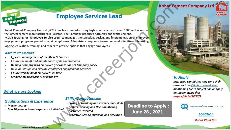 Kohat Cement Company Ltd Jobs 2021 in Pakistan