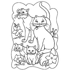 Breastfeeding Cats Coloring Pages
