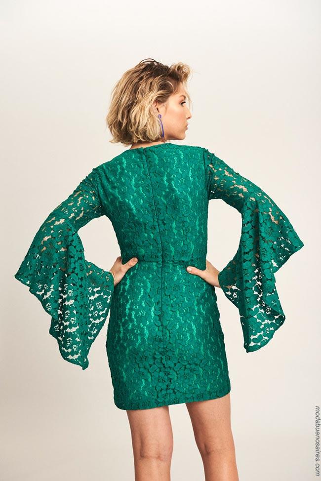 Moda 2019: Vestido de encaje verde Markova. Moda mujer 2019.