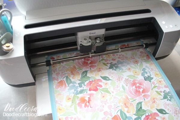 Cricut maker cutting watercolor floral paper