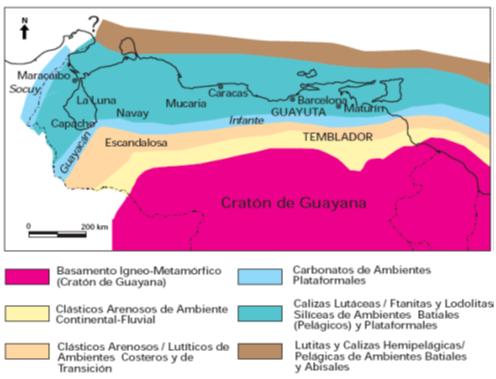 Cuenca del Lago de Maracaibo distribución facies sedimentarias