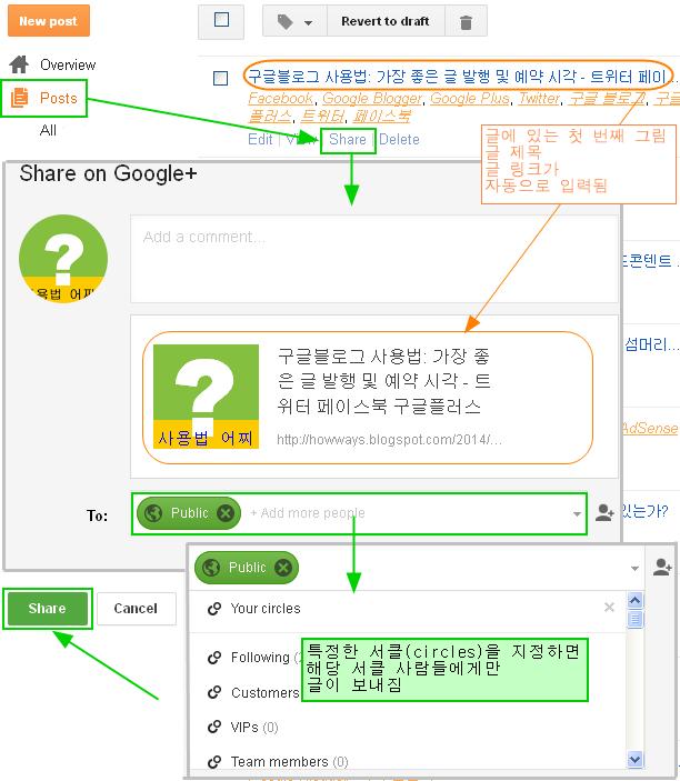 구글블로그 사용법: 구글플러스 및 구글플러스-페이지로 글 보내는 방법