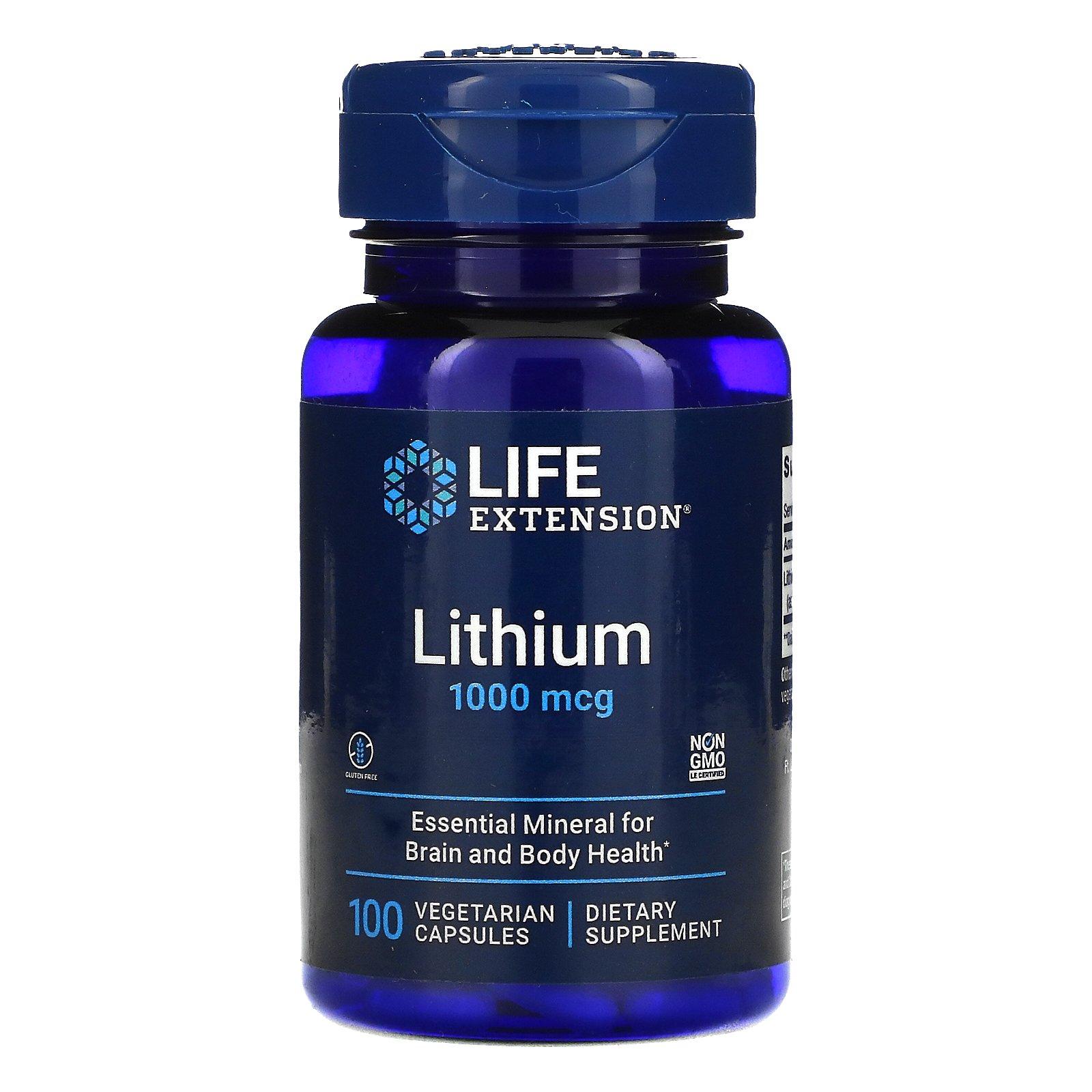 Life Extension, литий, 1000 мкг, 100 вегетарианских капсул