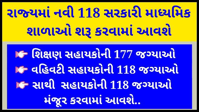118 Navi Madhyamik Shalao Ane Tema Mahekam Manjur Karva babat Paripatra