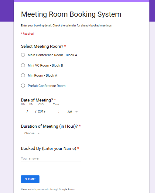 Create Online Meeting Room Booking System Using Google Forms