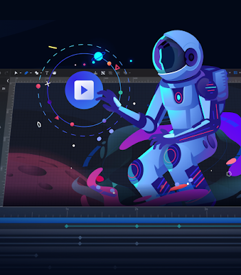 SVGator is capable of some very advanced vector Animations. Spaceman Image.