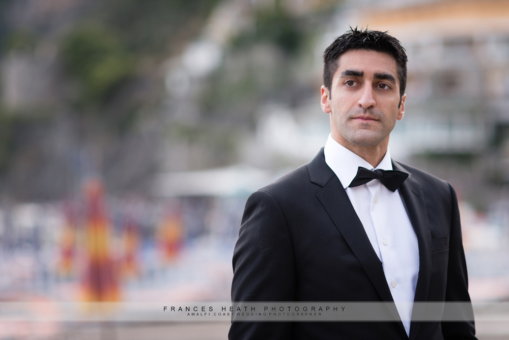 Groom portrait on Positano beach