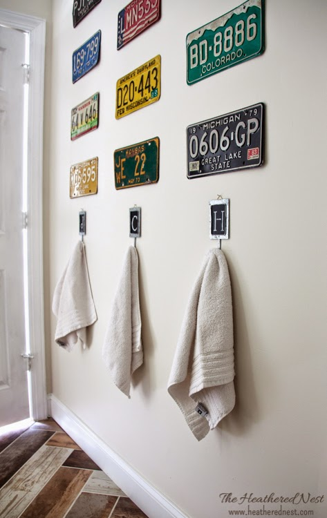 $1 Towel Hooks!  Heathered Nest Vintage Transportation Inspired Kids Bath Project.  Take a look!!