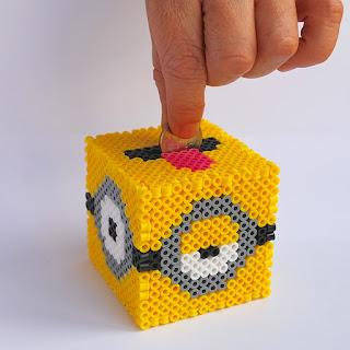 minion piggy bank with hama beads