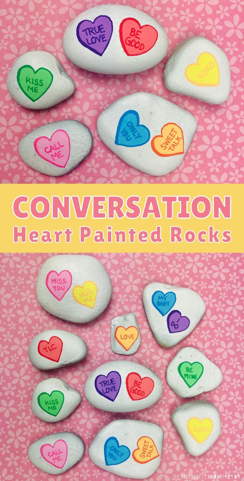 Heart painted rocks. Rock painting ideas. Conversation heart art.