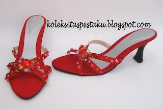 Handmade Sepatu Pesta Merah Model Terbaru Koleksi Tas Pesta Ku