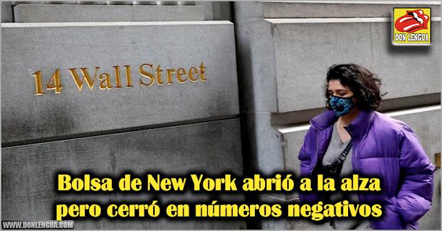 Bolsa de New York abrió a la alza pero cerró en números negativos