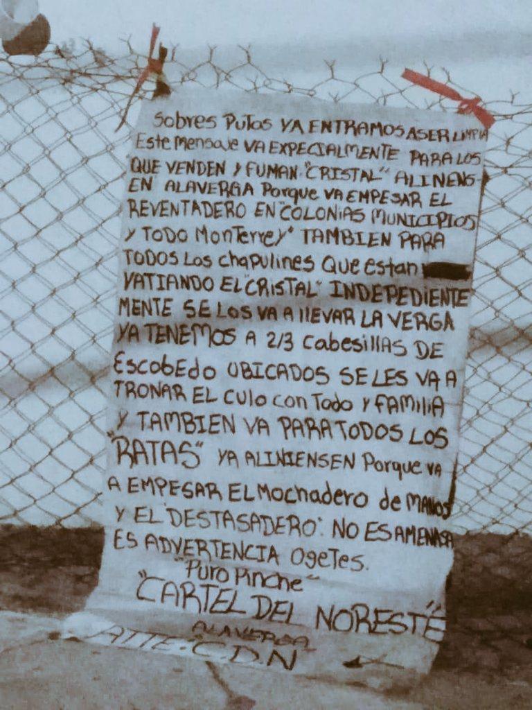 Otra vez, con mantita y florido léxico el Cartel del Noreste anuncia limpia en Monterrey